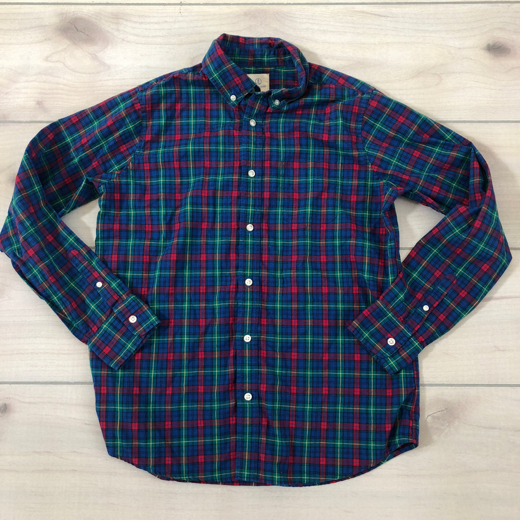 Lands End Navy, Red & Green Button Down Shirt