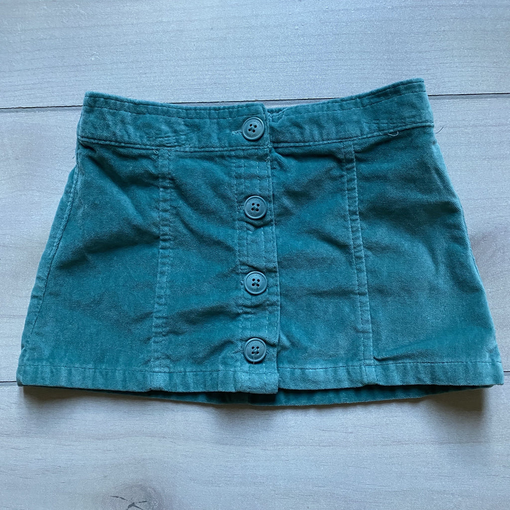 Toughskins Teal Velour Button Front Skirt - Sweet Pea & Teddy