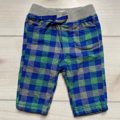 Baby Boden Blue Gray Green Plaid Elastic Waist Pull On Pants
