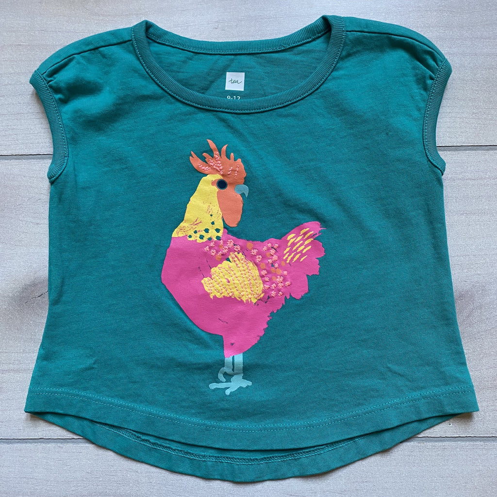 NEW Tea Collection Teal Rooster Shirt