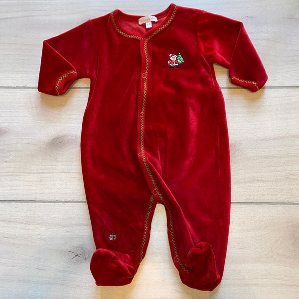 Kissy Kissy Bear Red Velour Holiday Footed Sleeper