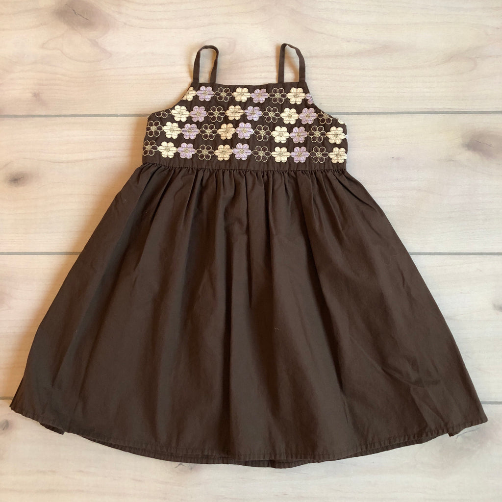 Gymboree Brown Floral Shimmer Embroidered Sundress