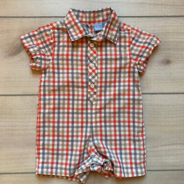 Children's Place Orange & Gray Checkered Romper