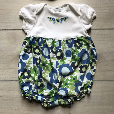 Baby Gap Blue Floral Bubble Romper & Hat