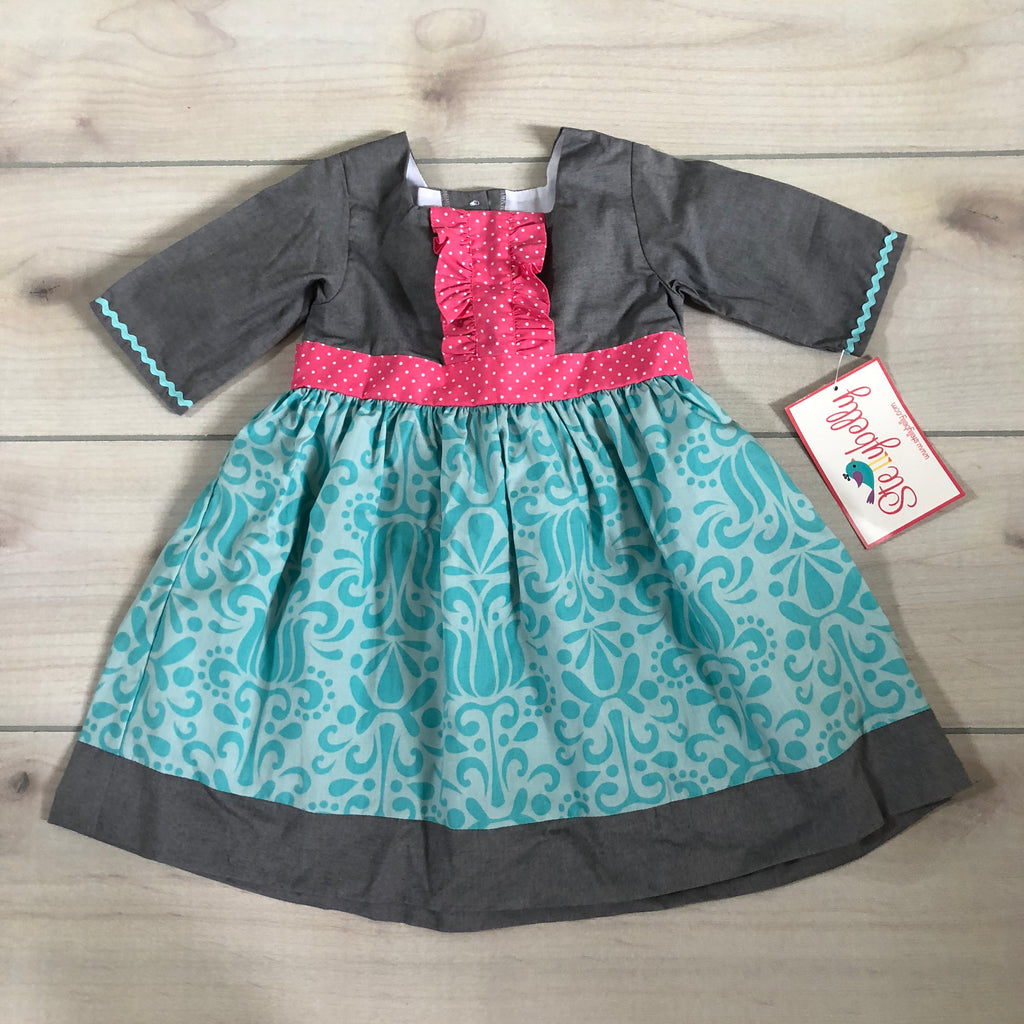 NEW Stellybelly Gray Turquoise Pink Dress