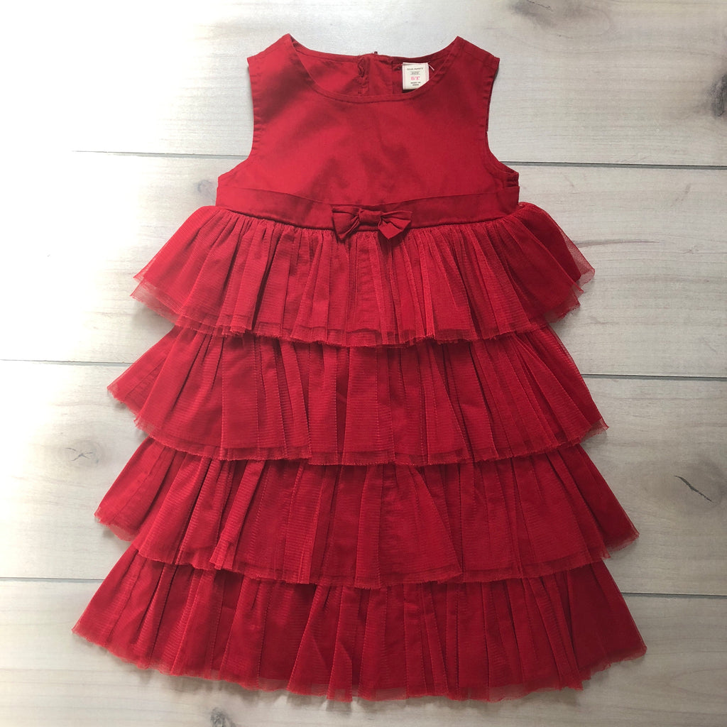 Old Navy Tiered Ruffled Red Dress