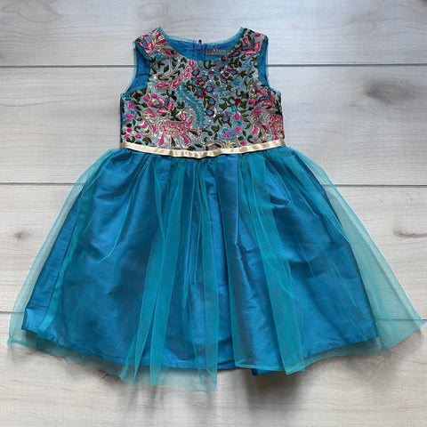 ATUN Blue Teal Embroidered Tulle Bottom Dress
