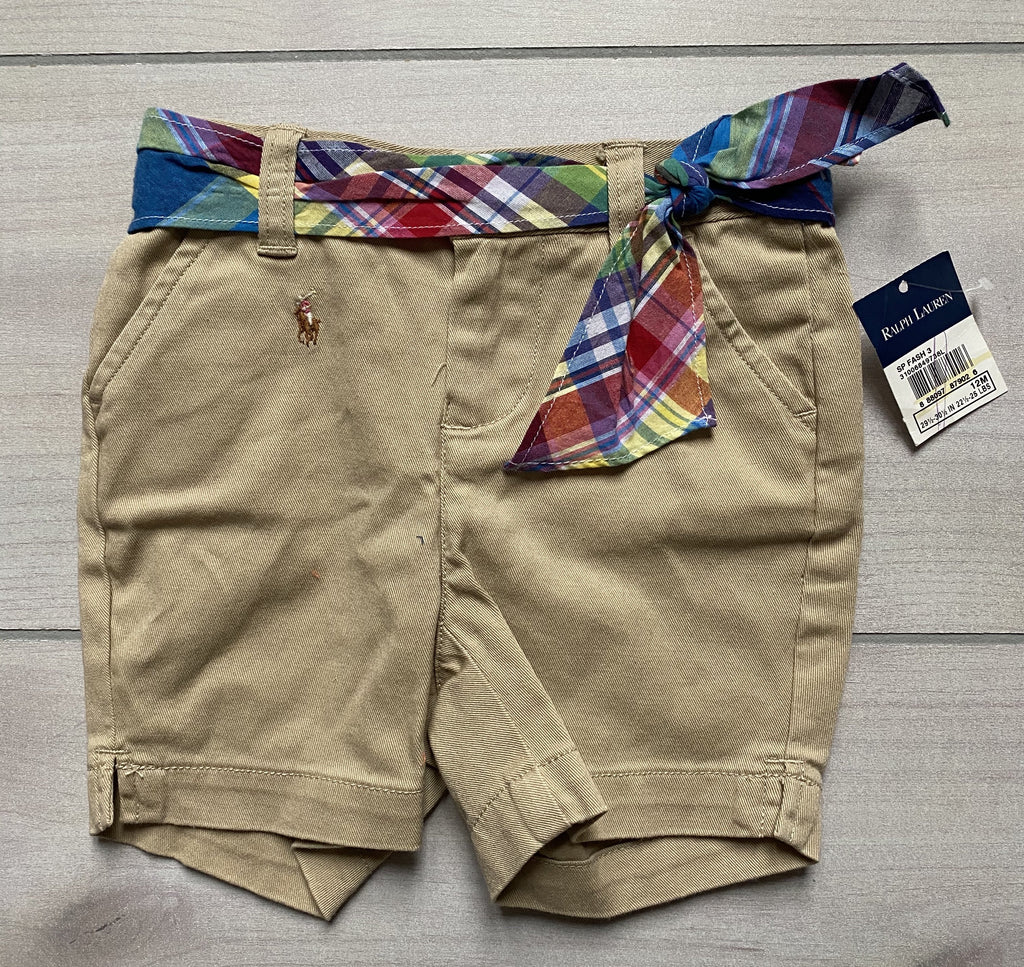 NEW Ralph Lauren Plaid Belted Khaki Shorts