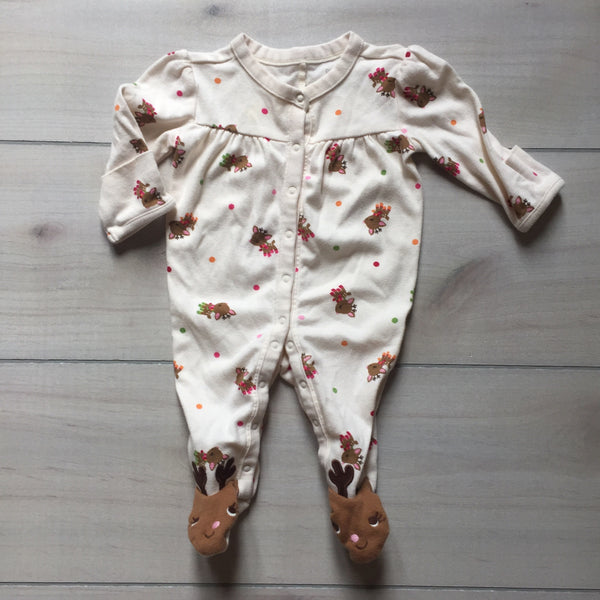 Gymboree Cream Reindeer Footed Sleeper