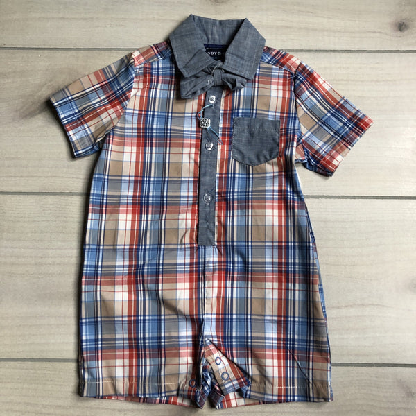 NEW Andy & Evan Blue Orange & Tan Plaid Bowtie Romper