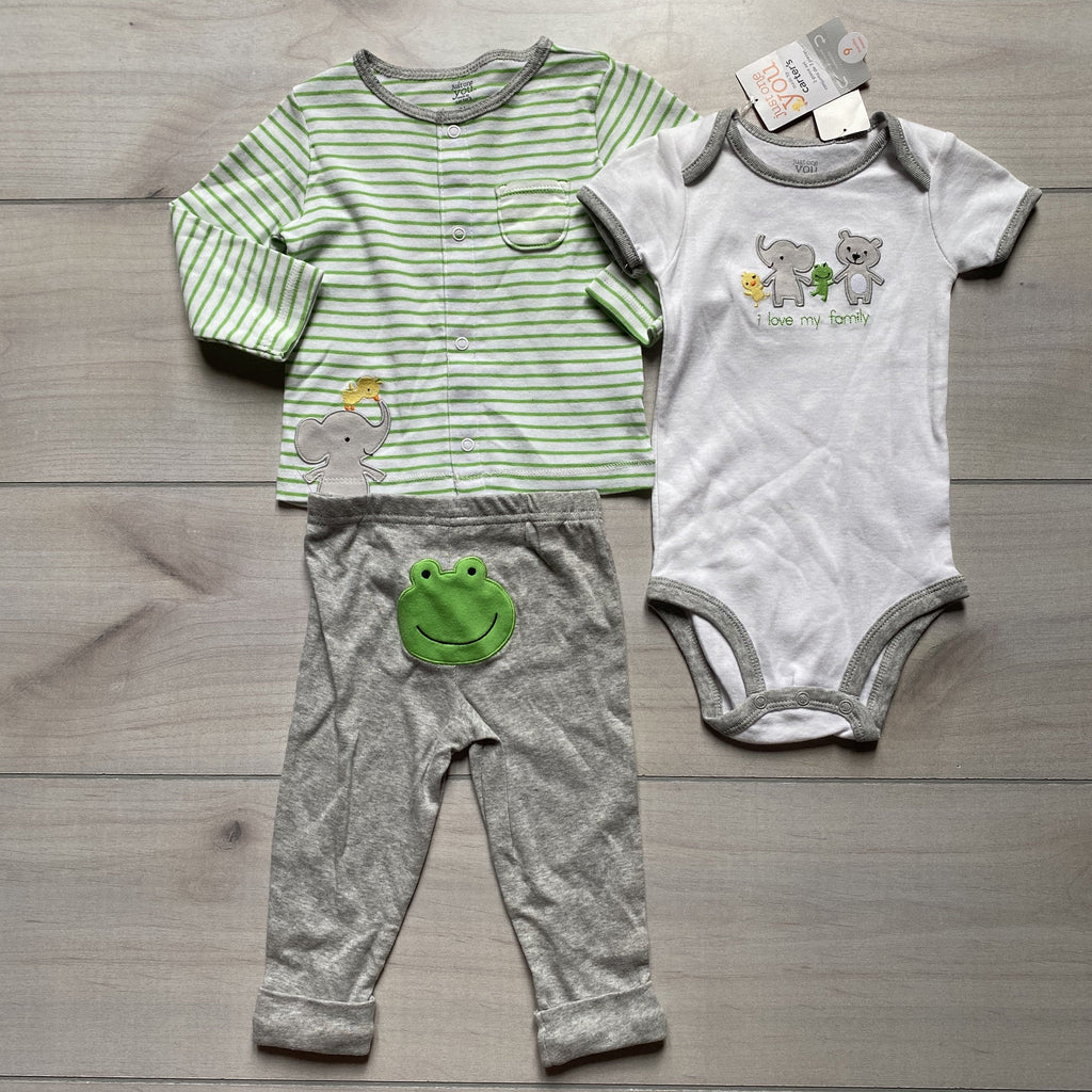 NEW Carter's Frog 3 Piece Outfit - Sweet Pea & Teddy