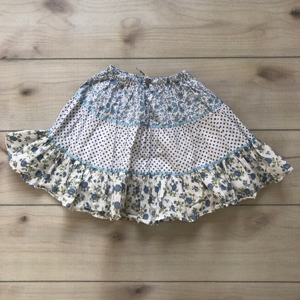Mini Boden Blue Floral Polka Dot Skirt