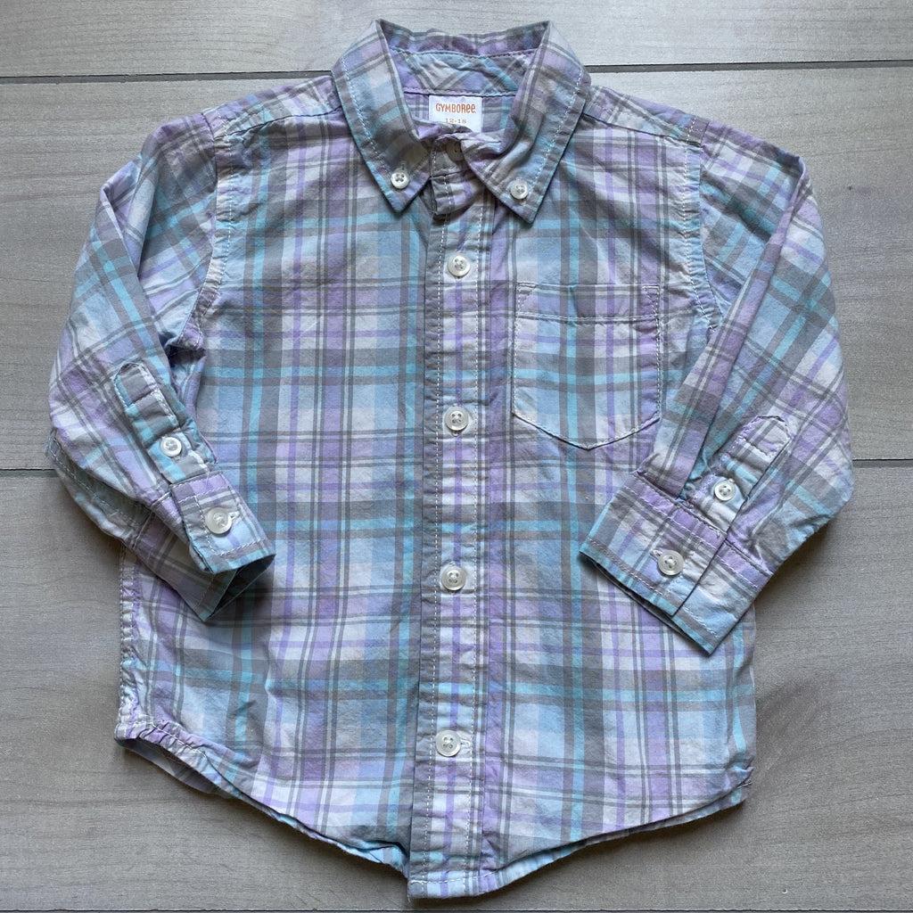 Gymboree Purple and Gray Button Down Shirt - Sweet Pea & Teddy