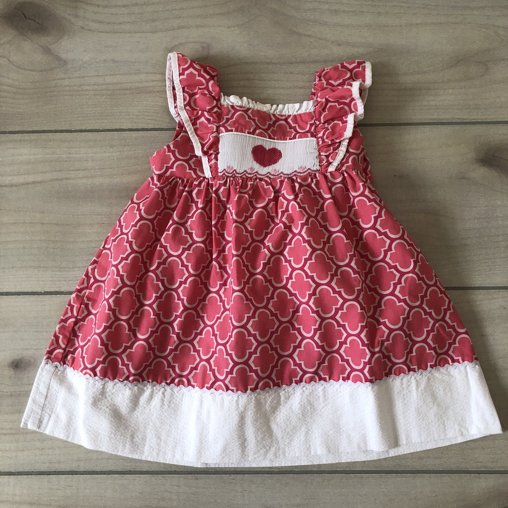 Stellybelly Pink & White Heart Smocked Dress