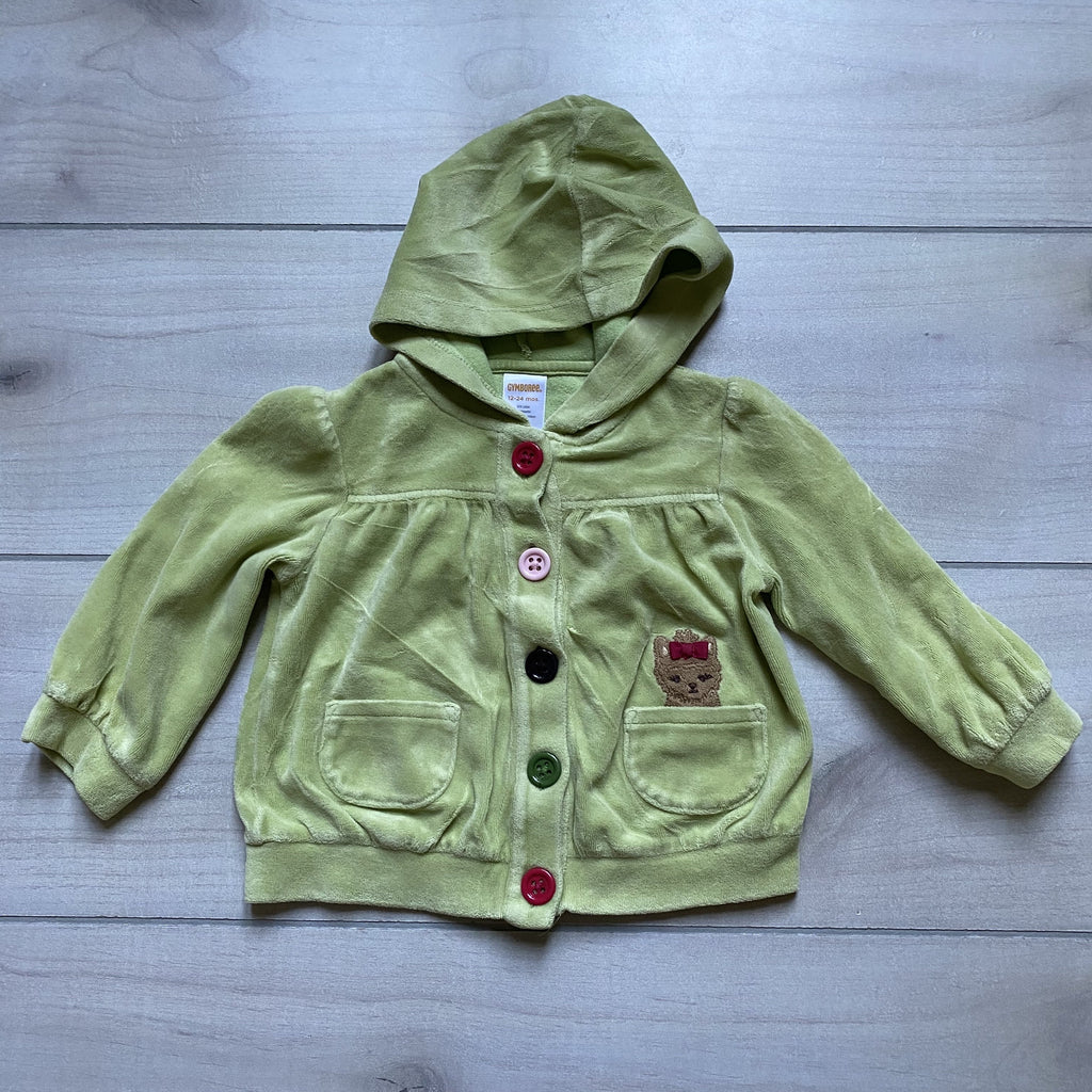 Gymboree Green Velour Hooded Button Front Puppy Pocket Cardigan - Sweet Pea & Teddy