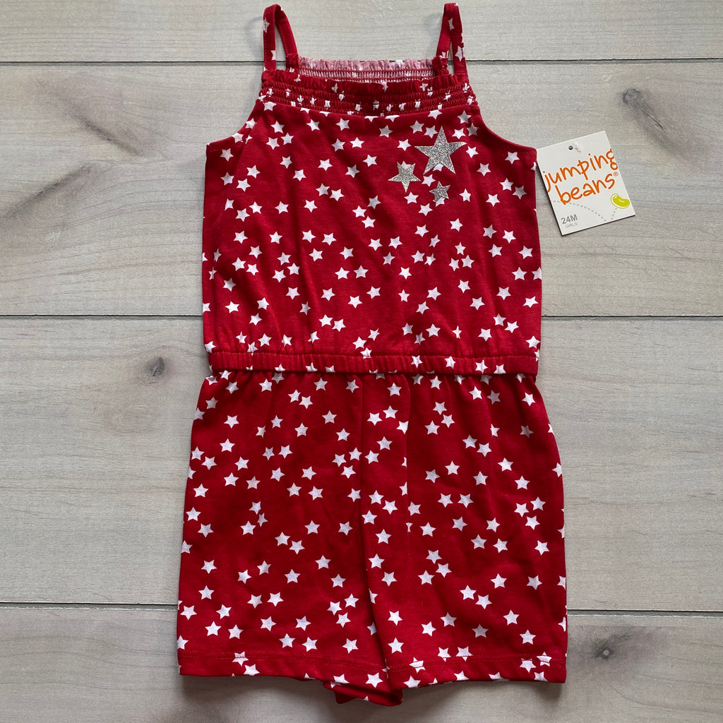 NEW Jumping Beans Red & White Star Cotton Romper