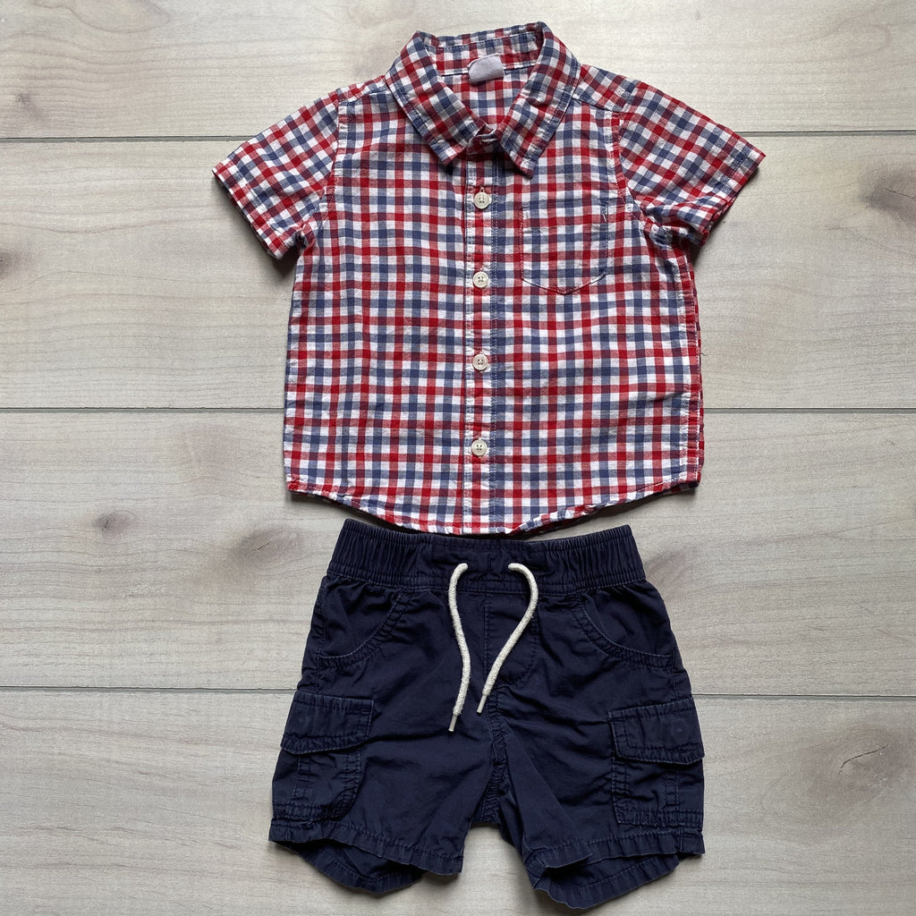 Baby Gap Red White & Blue Checkered Short Outfit - Sweet Pea & Teddy