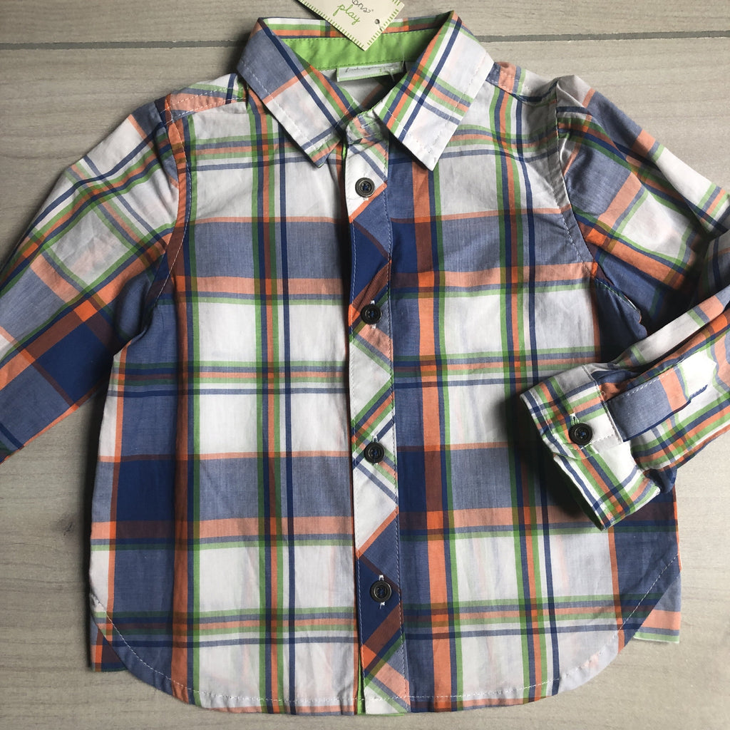 NEW First Impressions Green Blue Checkered Button Down Shirt - Sweet Pea & Teddy