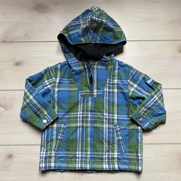 Baby Gap Blue Green Plaid Zipper Hooded Jacket