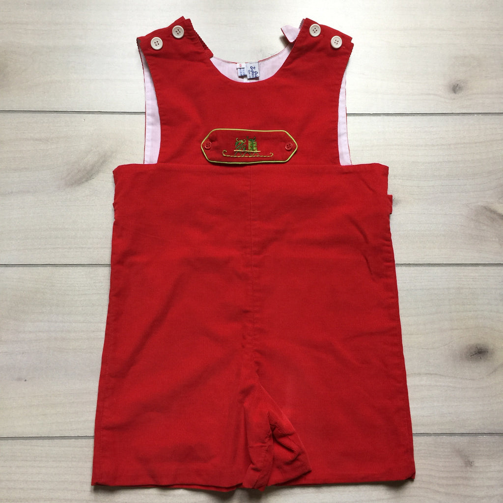 Orient Express Red Present Sled Holiday Romper Longall