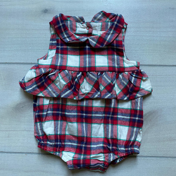 NEW Cat & Jack Flannel Collared Bubble Romper