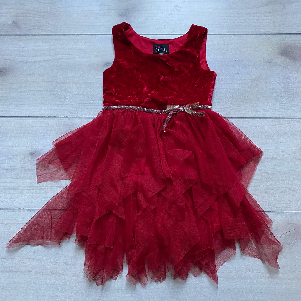 Lilt Red Velour & Tulle Dress