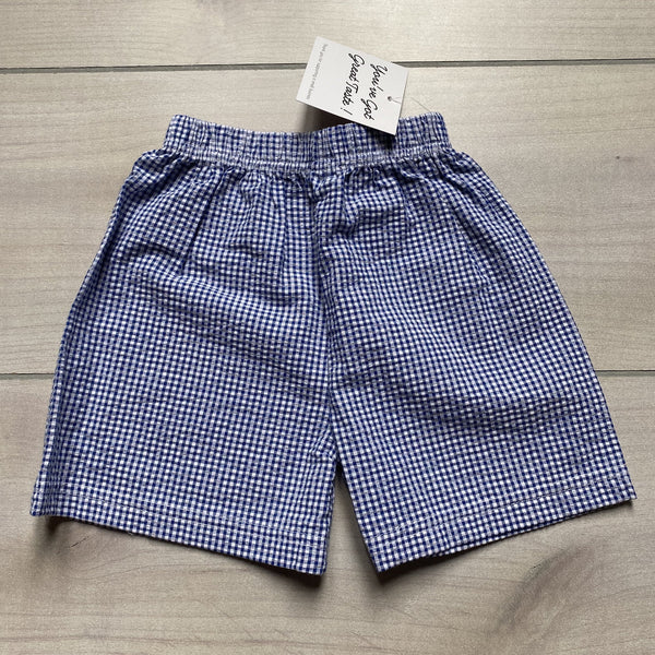 NEW Boutique Brand Navy Gingham Seersucker Shorts