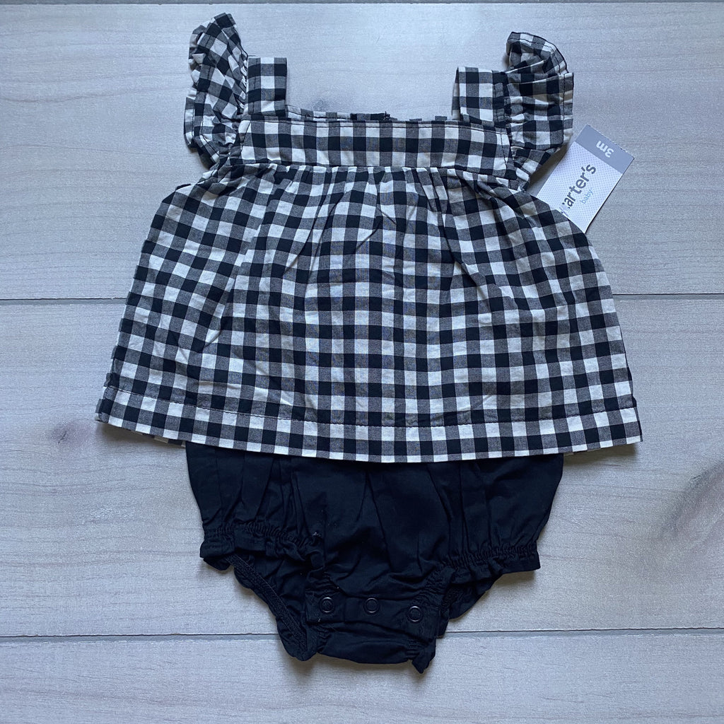NEW Carter's Black Gingham One Piece Outfit - Sweet Pea & Teddy
