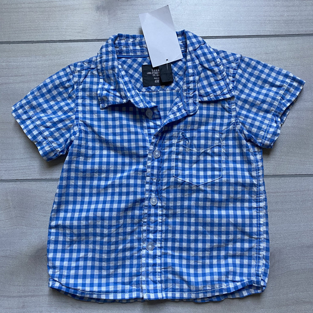 NEW H&M Blue Gingham Short Sleeve Button Down Shirt - Sweet Pea & Teddy