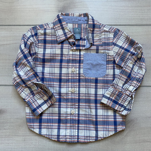 Baby Gap White Pink Blue Pocket Button Down Shirt - Sweet Pea & Teddy