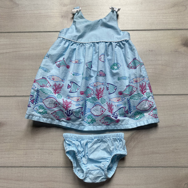Gymboree Blue Fish Pattern Dress & Bloomer - Sweet Pea & Teddy