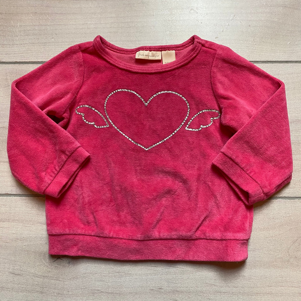First Impressions Pink Velour Silver Sparkle Heart Sweatshirt