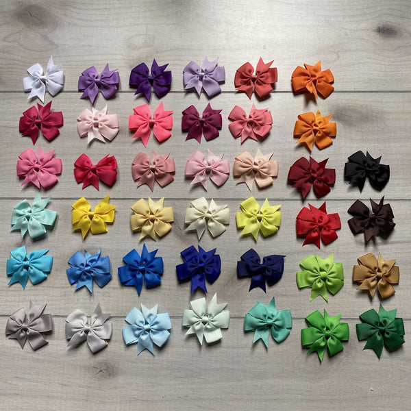 "NEW 3"" Wide Solid Color Hair Clip Bows"