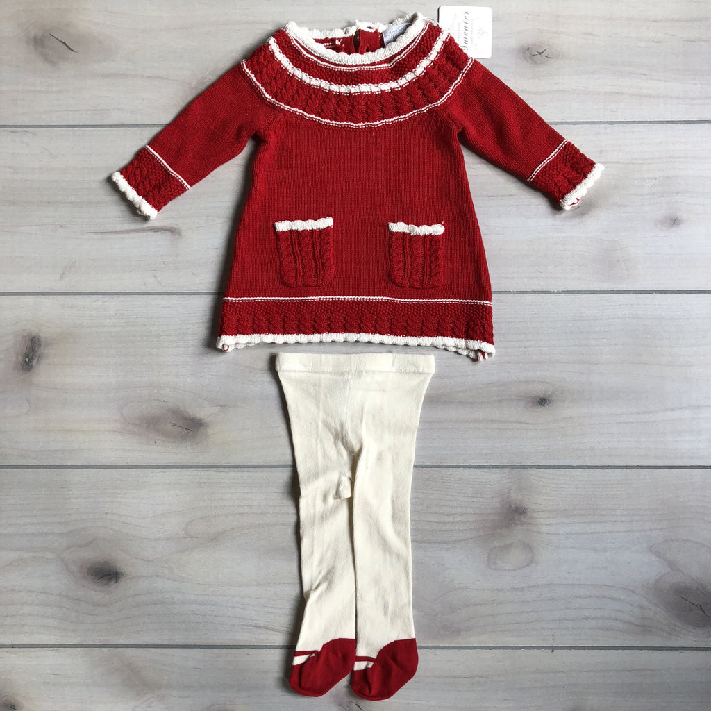 NEW Polly Flanders Heirloom Red Sweater Dress & Tights - Sweet Pea & Teddy