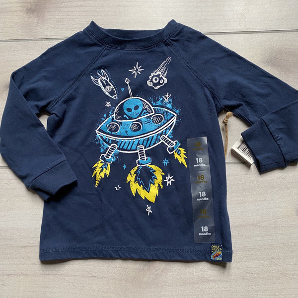 NEW Charlie Rocket Alien Graphic Long Sleeve Tee