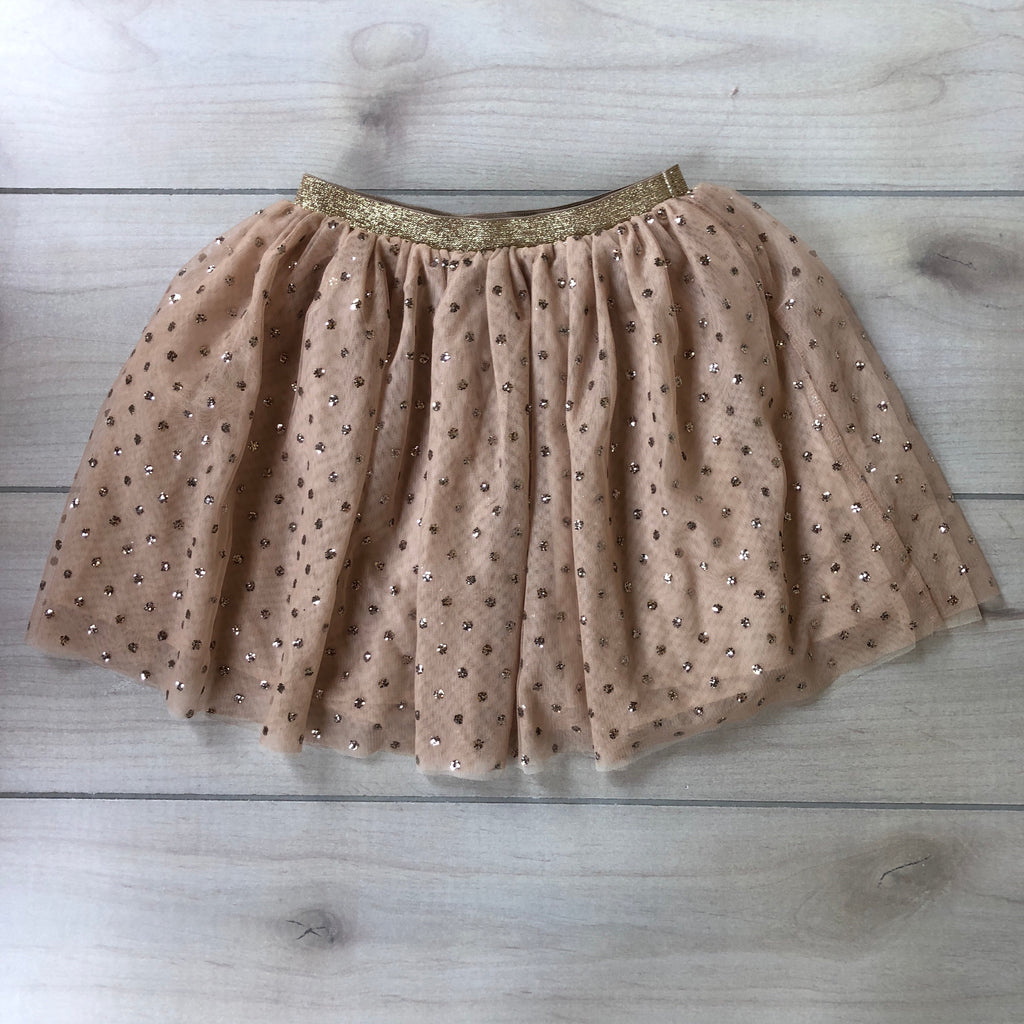 H&M Tan Gold Glitter Dot Tulle Skirt
