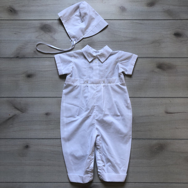 NEW Little Things Mean A Lot White Christening Romper Outfit & Bonnet