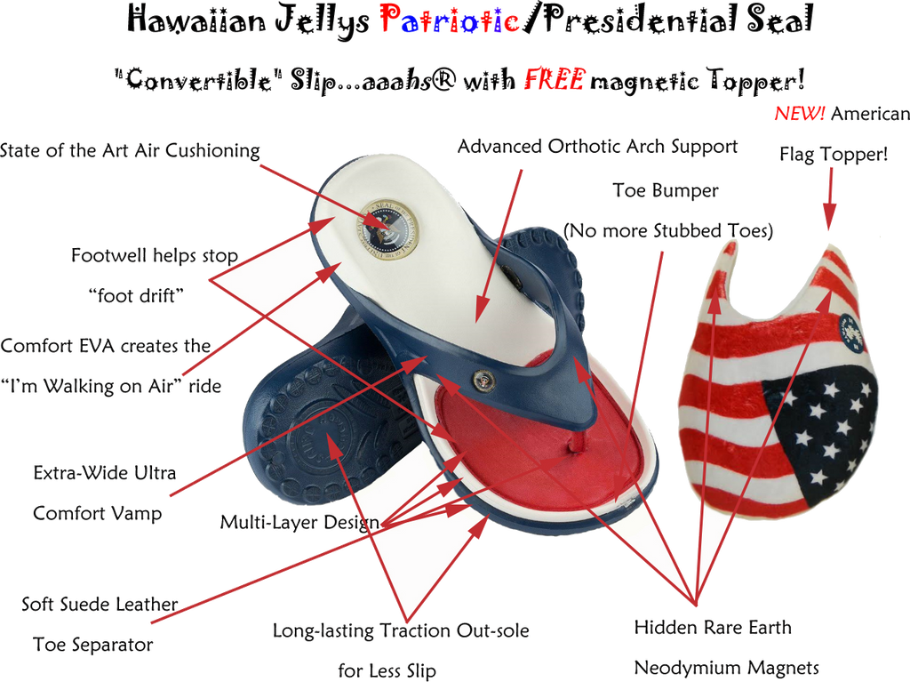 """CONVERTIBLE"" Patriotic (Red/White/Blue)  Slip…aaahs™"