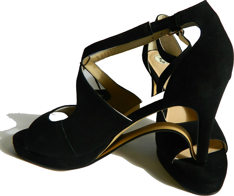 NEW! Ultra-Comfort Suede High Heels with Stabilization - Black Diamond
