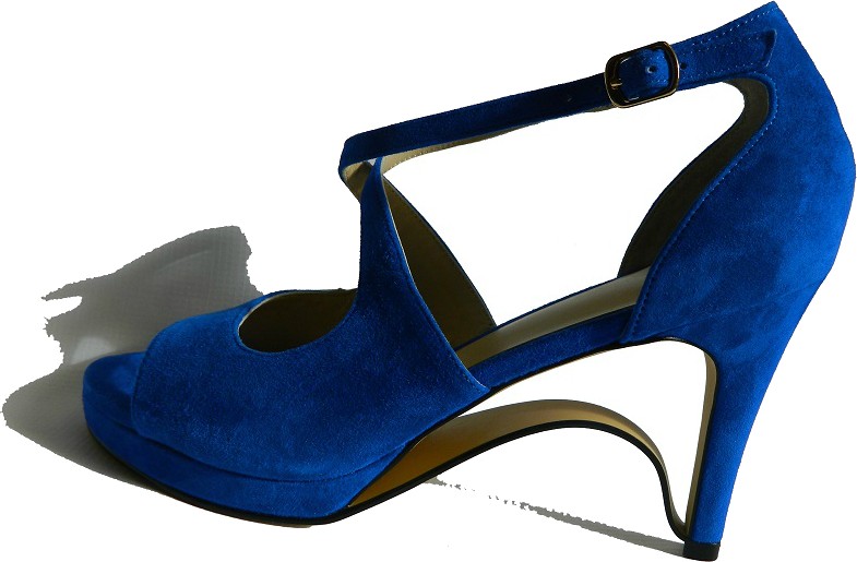 NEW! Ultra-Comfort Suede High Heels with Stabilization - Blue Sapphire