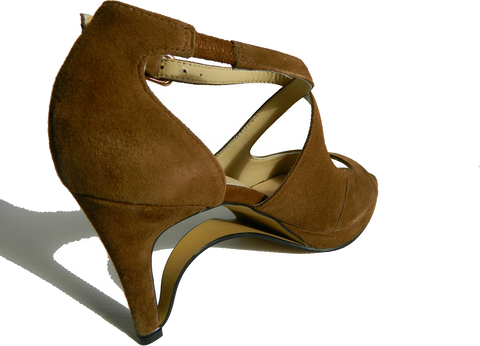 NEW! Ultra-Comfort Suede High Heels with Stabilization - Brown Topaz