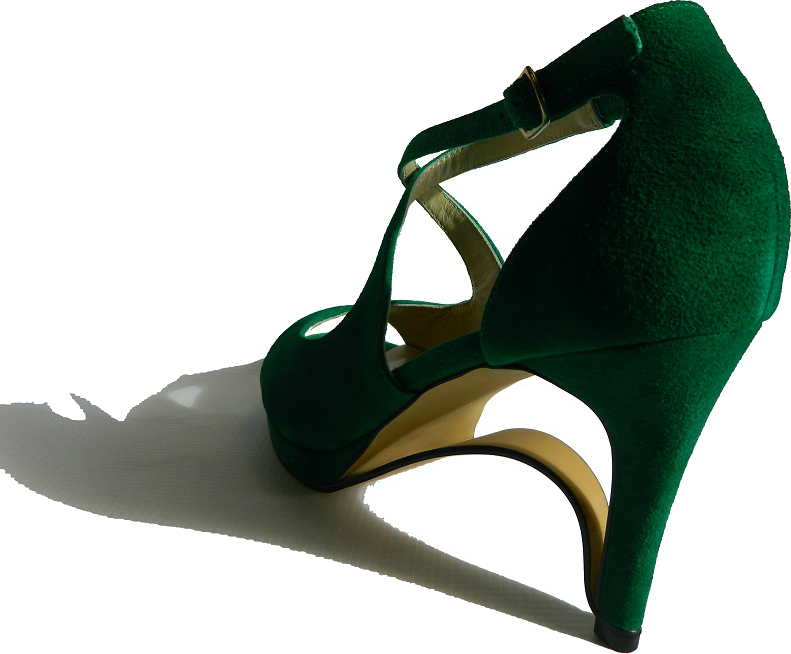 NEW! Ultra-Comfort Suede High Heels with Stabilization - Emerald Green