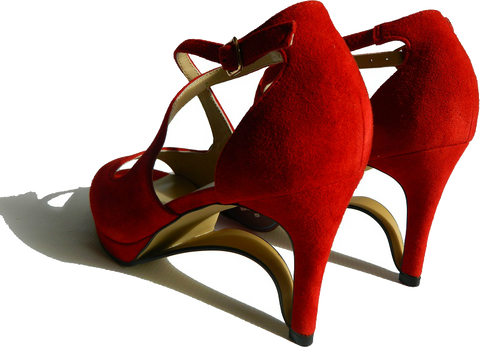 NEW!! Ultra-Comfort Suede High Heels with Stabilization - Ruby Red
