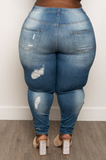 "Plus Size ""Break Thru"" Ripped Jeans - Medium Blue Denim 1224p"