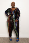 "Plus Size ""Dis Go"" Sequin Jumpsuit - Black Multi"