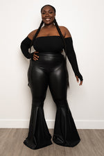 "Plus Size ""Push It to the Limit"" Vegan Leather Bell Bottom Pants - Black"