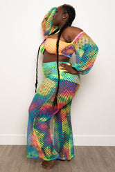 "Plus Size ""Stay Off My Line"" Fishnet Set - Multi"