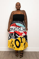 "Plus Size ""Mosheno"" Pleated Midi Accordion Skirt - Black Multi"