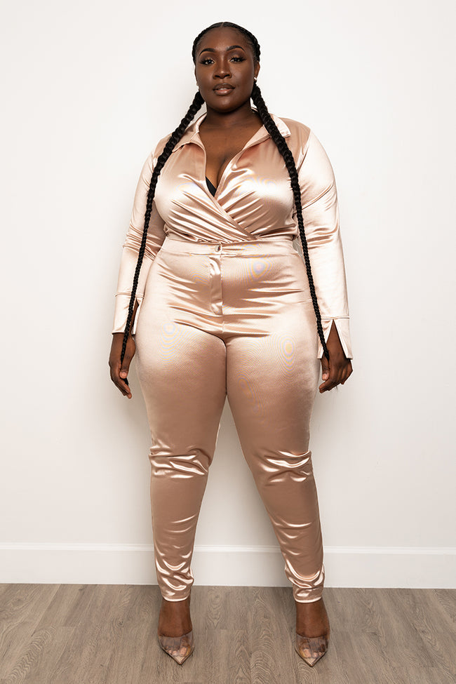 "Plus Size ""Ready For The World"" Pant Set - Desert Sand"