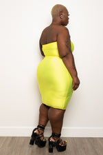 "Plus Size ""Girl Code"" Slinky Tube Dress - Neon Yellow"